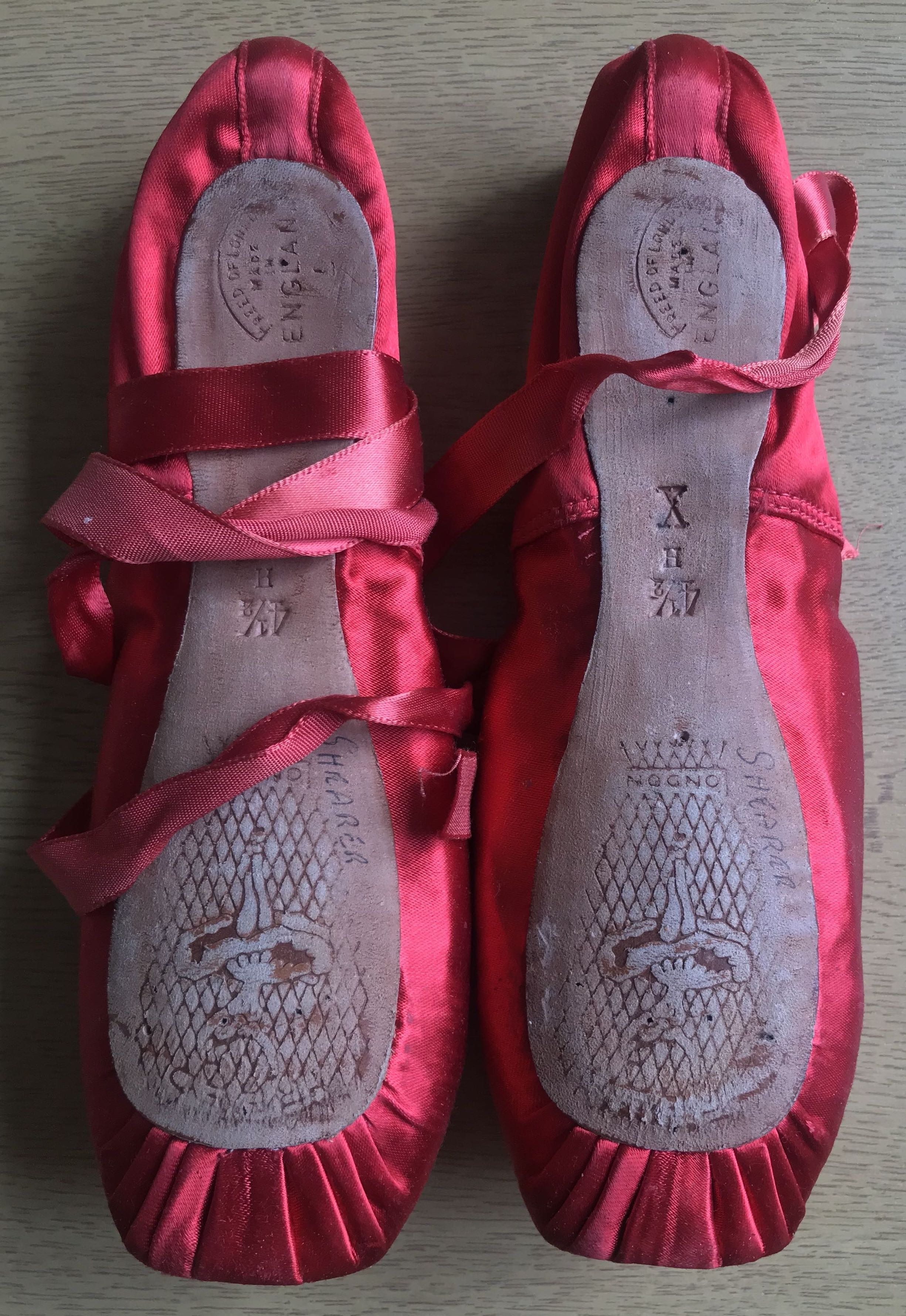 The pointe shoes from 'The Red Shoes' - worn by Moira Shearer