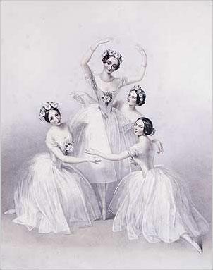 Pas-de-Quatre (1845) Carlotta Grisi, Marie Taglioni, Lucile Grahn and Fanny Cerito source - the Theatre Museum (Victoria & Albert Museum)